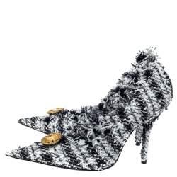 Balenciaga Black/White Tweed D'orsay Pump Size 39
