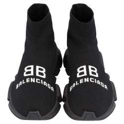 Balenciaga Black Knit Speed logo Sneakers Size  EU 36