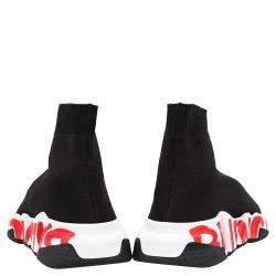 Balenciaga Black/White/Red Speed Graffiti Sneakers Size EU 37
