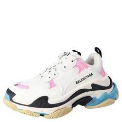 Balenciaga White/Multicolor Triple S Sneakers Size EU 39