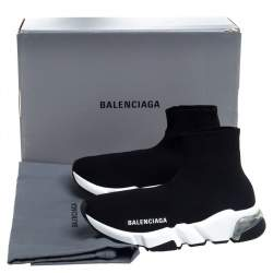 Balenciaga Black Knit Speed Clear Sole Sneakers Size 35