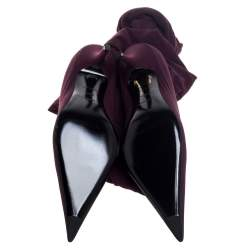 Balenciaga Burgundy Fabric Knife Over The Knee Boots Size 38.5