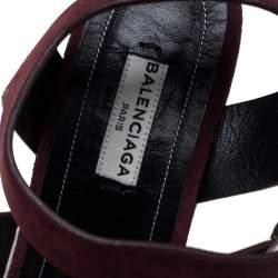 Balenciaga Burgundy Suede Strappy Wedge Espadrilles Size 38