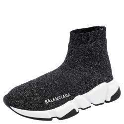 Balenciaga Black Knit Speed Sneakers Size EU 38