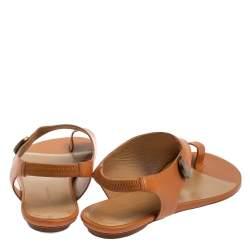 Balenciaga Brown Leather Slingback Flat Sandals Size 40