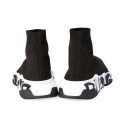 Balenciaga Black Speed Graffiti Trainers Sneakers Size EU 35