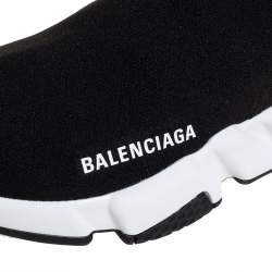 Balenciaga Black Knit Fabric Speed Trainer Slip On Sneakers Size 37