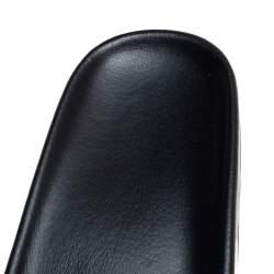 Balenciaga Black Logo Stamped Leather Slide Sandals Size 38