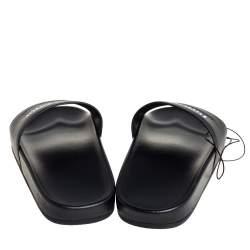 Balenciaga Black Leather Logo Pool Flat Slides Size 39