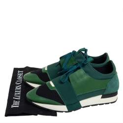 Balenciaga Black/Green Mesh And Leather Race Runner Low Top Sneakers Size 39