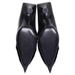 Balenciaga Black Leather BB Ankle Boots Size 38.5