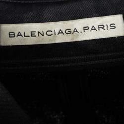 Balenciaga Black Satin Sleeveless Asymmetric Vest M