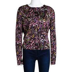 Balenciaga Multicolor Printed Knit Long Sleeve Top M