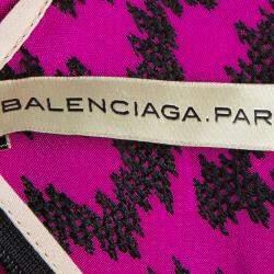 Balenciaga Pink Contrast Embroidered Elasticized Waist Sleeveless Dress M