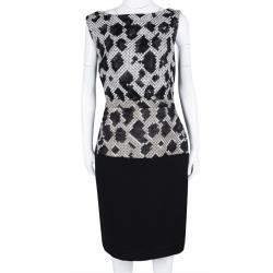 Balenciaga Black Pixelated Snake Pattern Sleeveless Sheath Dress M