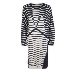 Balenciaga Navy Blue and Cream Striped Silk Cashmere Sweater Dress M