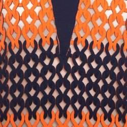 Balenciaga Blue and Neon Orange Open Loop Weave Detail Sleeveless Top S
