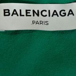 Balenciaga Green Silk Pleated Asymmetrical Blouse M