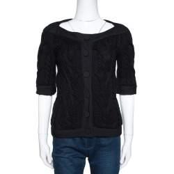 Balenciaga Black Cable Knit Three Quarter Sleeve Cardigan S