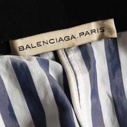 Balenciaga Navy Blue & White Striped Synthetic Shorts M