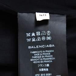 Balenciaga Black Wool Wrap Detail Asymmetric Hem Mini Dress M
