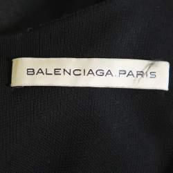 فستان بالنسياغا بلا أكمام قصات تريكو أخضر مزرق و أسود مقاس كبير (لارج)