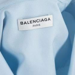 Balenciaga Blue Collared Yoke Detail Sleeveless Crop Top S