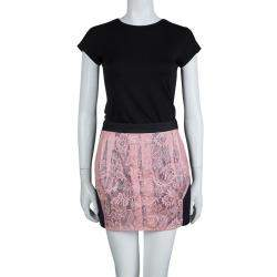 Balenciaga Pink Lace Sequin Embellished Skirt M