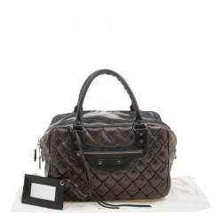 Balenciaga Anthracite Quilted Chevre Leather Satchel
