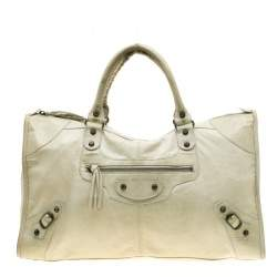 Balenciaga Sea Green Leather Raised Brass Hardware Work Tote