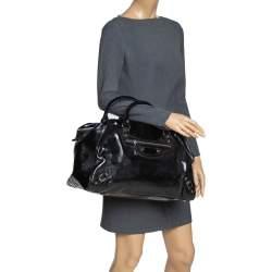 Balenciaga Black Patent Leather Bowling MM Bag