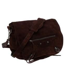Balenciaga Dark Brown Suede RH Folk Messenger Bag