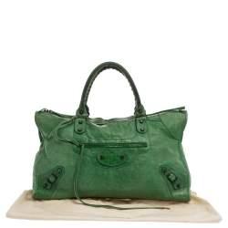 Balenciaga Grass Green Leather RH Work Tote