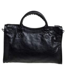 Balenciaga Black Leather RH City Bag