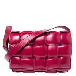 Bottega Veneta Magenta Padded Leather Cassette Crossbody Bag