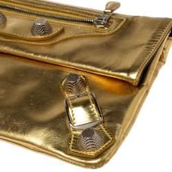 Balenciaga Metallic Gold Leather Motocross Giant 21 Envelope Clutch