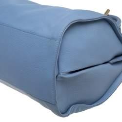 Balenciaga Light Blue Grain Leather Tube Round Tote