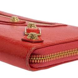Balenciaga Rose Corail Leather City Zip Around Wallet