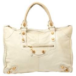 Balenciaga Light Cream Leather GH Voyage Weekender Bag
