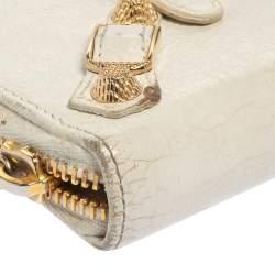 Balenciaga White Leather City Zip Around Wallet