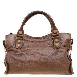 Balenciaga Brown Leather GH City Bag