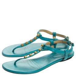 Balenciaga Turquoise Studded Leather Arena Thong Sandals Size 37