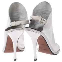 Balenciaga White Leather Open Toe Glove Slingback Sandals Size 40