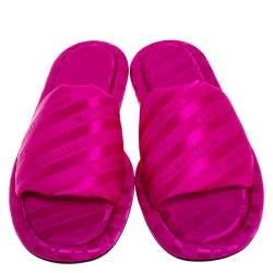 Balenciaga Pink Jacquard Fabric Hotel Flat Slide Sandals Size 38