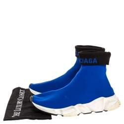 Balenciaga Blue Knit Fabric Speed Trainer Sneakers Size 39