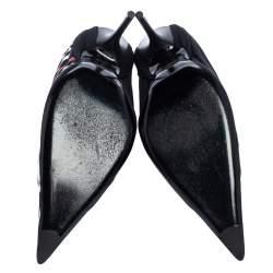 """حذاء كعب عالي بالنسياغا """"نيف"""" مقدمة مدببة جلد و جيرسيه ديرابيه مطبوع شعار الماركة أسود مقاس 41"""