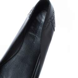 Balenciaga Black Brogue Glossy Leather Metal Arena Ballet Flats Size 36