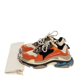 Balenciaga Multicolor Leather, Canvas and Mesh Triple S Platform Sneakers Size 37