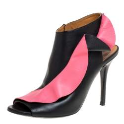 Balenciaga Black/Pink Leather Ruffled Peep Toe Mule Sandals Size 38.5