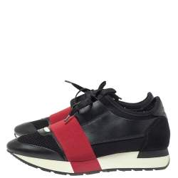 Balenciaga Black/Red Mesh And Leather Race Runner Low Top Sneakers Size 37